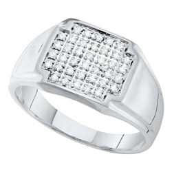 0.25 CTW Mens Pave-set Diamond Square Cluster Ring 10KT White Gold - REF-26X9Y