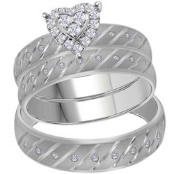 0.25 CTW His & Hers Diamond Heart Matching Bridal Ring 14KT White Gold - REF-71K3W