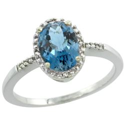 Natural 1.2 ctw London-blue-topaz & Diamond Engagement Ring 14K White Gold - REF-23F2N