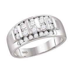 0.99 CTW Mens Channel-set Diamond Raised Wedding Ring 10KT White Gold - REF-71M9H