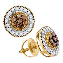 0.62 CTW Cognac-brown Color Diamond Cluster Screwback Earrings 10KT Yellow Gold - REF-30F2N