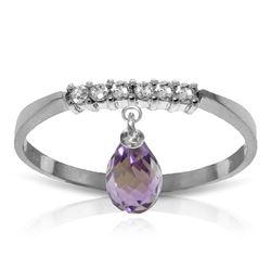 Genuine 1.45 ctw Amethyst & Diamond Ring Jewelry 14KT White Gold - REF-34X3M