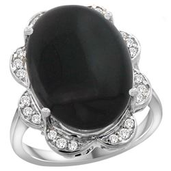 Natural 6.43 ctw onyx & Diamond Engagement Ring 14K White Gold - REF-106M8H