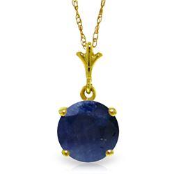 Genuine 1.65 ctw Sapphire Necklace Jewelry 14KT Yellow Gold - REF-28V2W
