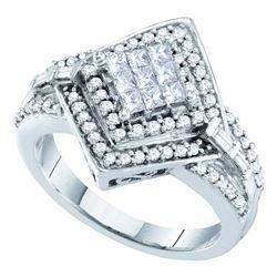 0.75 CTW Princess Diamond Cluster Bridal Engagement Ring 14KT White Gold - REF-87F2N
