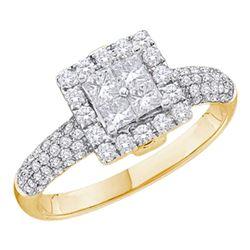 1.01 CTW Princess Diamond Cluster Halo Bridal Engagement Ring 14KT Yellow Gold - REF-109M4H