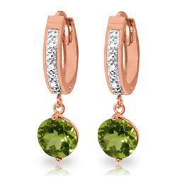 Genuine 2.63 ctw Peridot & Diamond Earrings Jewelry 14KT Rose Gold - REF-56V2W