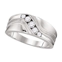 0.41 CTW Mens Diamond Wedding Ring 10KT White Gold - REF-59Y8X