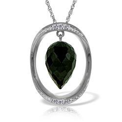 Genuine 12.35 ctw Black Spinel & Diamond Necklace Jewelry 14KT White Gold - REF-105Y7F