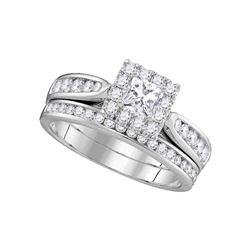 0.99 CTW Princess Diamond Bridal Engagement Ring 14KT White Gold - REF-127Y4X