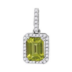 1.13 CTW Emerald Peridot Solitaire Diamond Rectangle Pendant 14KT White Gold - REF-34M4H