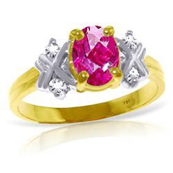 Genuine 0.97 ctw Pink Topaz & Diamond Ring Jewelry 14KT Yellow Gold - REF-59K5V