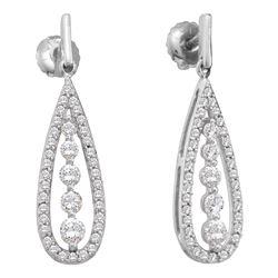 0.75 CTW Diamond Teardrop Dangle Screwback Earrings 14KT White Gold - REF-75F2N