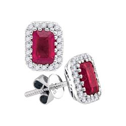 1.5 CTW Cushion Natural Ruby Solitaire Diamond Earrings 14KT White Gold - REF-127M4H