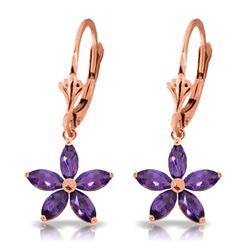 Genuine 2.8 ctw Amethyst Earrings Jewelry 14KT Rose Gold - REF-46R7P