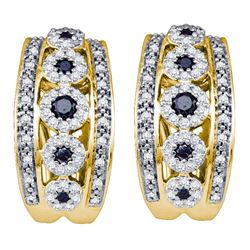 0.75 CTW Black Color Diamond Cocktail Omega-back Luxury Hoop Earrings 10KT Yellow Gold - REF-71M9H