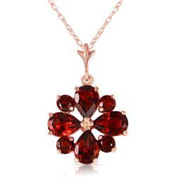 Genuine 2.43 ctw Garnet Necklace Jewelry 14KT Rose Gold - REF-29X7M
