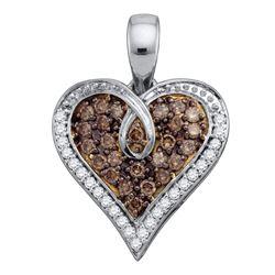 0.50 CTW Brown Color Diamond Heart Pendant 10KT White Gold - REF-26N9F