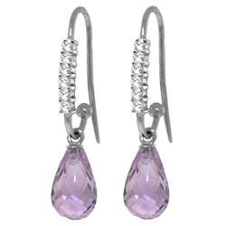 Genuine 4.68 ctw Amethyst & Diamond Earrings Jewelry 14KT White Gold - REF-40F7Z