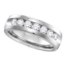 1 CTW Mens Channel-set Diamond Wedding Ring 14KT White Gold - REF-179M9H