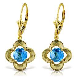 Genuine 1.10 ctw Blue Topaz Earrings Jewelry 14KT Yellow Gold - REF-37X7M