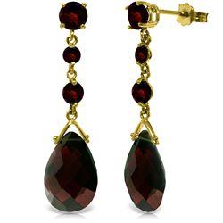Genuine 13.2 ctw Garnet Earrings Jewelry 14KT Yellow Gold - REF-39Z3N