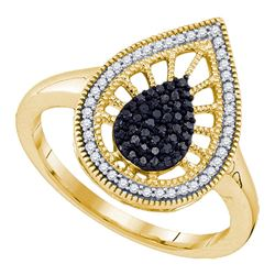 0.35 CTW Black Color Diamond Teardrop Ring 10KT Yellow Gold - REF-30K2W