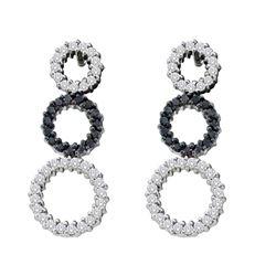 0.78 CTW Black Color Diamond Triple Circle Earrings 14KT White Gold - REF-67F4N