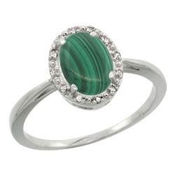 Natural 1.69 ctw Malachite & Diamond Engagement Ring 14K White Gold - REF-25W6K