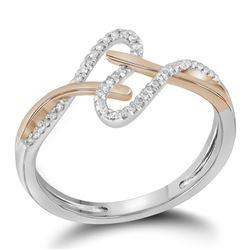 0.10 CTW Diamond Bisected Rose-tone Strand Ring 10KT White Gold - REF-12K2W