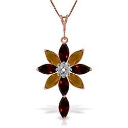 Genuine 2.0 ctw Garnet, Citrine & Diamond Necklace Jewelry 14KT Rose Gold - REF-47F4Z