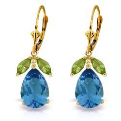 Genuine 13 ctw Blue Topaz & Peridot Earrings Jewelry 14KT Yellow Gold - REF-61Z2N