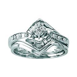 0.25 CTW Diamond Bridal Wedding Engagement Ring 14KT White Gold - REF-44H9M