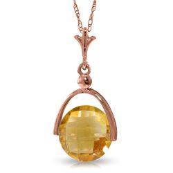 Genuine 3.25 ctw Citrine Necklace Jewelry 14KT Rose Gold - REF-22F3Z