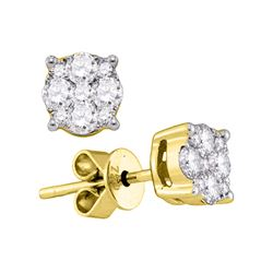 0.89 CTW Diamond Cluster Stud Earrings 18KT Yellow Gold - REF-172Y4X