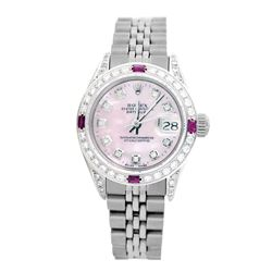 Rolex Pre-owned 26mm Womens Custom Pink MOP Stainless Steel - REF-510M2R