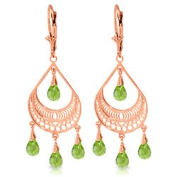 Genuine 6.75 ctw Peridot Earrings Jewelry 14KT Rose Gold - REF-62R6P