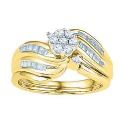 0.50 CTW Diamond Flower Cluster Bridal Engagement Ring 10KT Yellow Gold - REF-47H9M