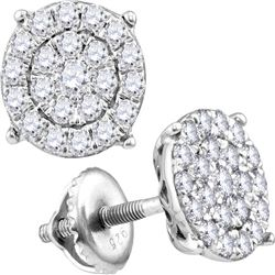 0.96 CTW Diamond Cluster Earrings 10KT White Gold - REF-59K9W