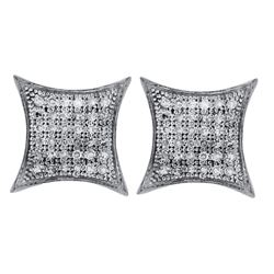 0.20 CTW Pave-set Diamond Square Kite Cluster Earrings 10KT White Gold - REF-16F4N
