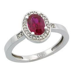 Natural 0.98 ctw Ruby & Diamond Engagement Ring 10K White Gold - REF-38M2H