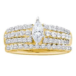 1.04 CTW Marquise Diamond Bridal Engagement Ring 14KT Yellow Gold - REF-112X5Y