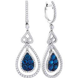 1.61 CTW Blue Sapphire Teardrop Diamond Dangle Earrings 14KT White Gold - REF-254F9N