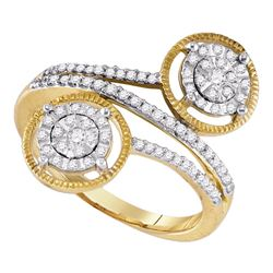 0.34 CTW Diamond Bypass Circle Cluster Ring 10KT Yellow Gold - REF-30Y2X