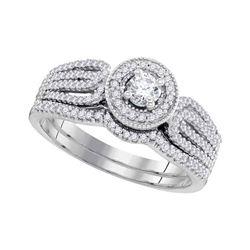 0.50 CTW Diamond Bridal Wedding Engagement Ring 10KT White Gold - REF-58X4Y