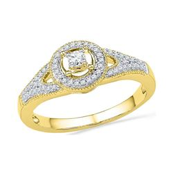 0.25 CTW Diamond Encircled Solitaire Milgrain Promise Bridal Ring 10KT Yellow Gold - REF-26M9H