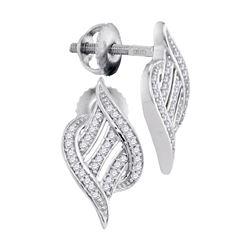 0.16 CTW Diamond Ribbon Screwback Earrings 10KT White Gold - REF-20N9F