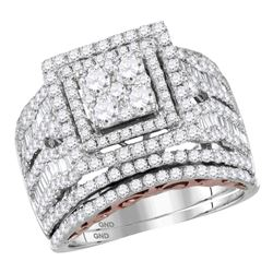 2.44 CTW Diamond Bridal Wedding Engagement Ring 14KT Two-tone Gold - REF-224X9Y