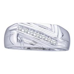 0.12 CTW Mens Diamond Diagonal Row Wedding Ring 10KT White Gold - REF-20N9F