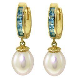 Genuine 9.3 ctw Blue Topaz & Pearl Earrings Jewelry 14KT Yellow Gold - REF-44N4R